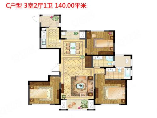 ,3室2厅1卫,入户玄关设计,给室内很好的缓冲效果,穿过入户花园